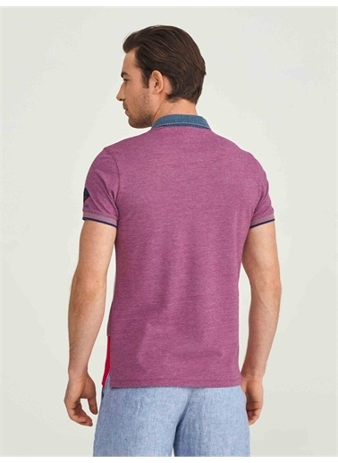 MCL MCL Polo Yaka %100 Pamuk Slim Fit Desenli Tişört Kırmızı